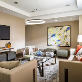 The private entertainment lounge is available for residents to reserve.