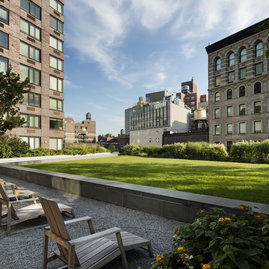 Residents can enjoy the private, quarter-acre outdoor rooftop lawn.