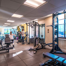 State-of-the-art health center features Cybex fitness equipment.