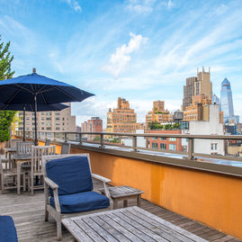 Enjoy unobstructed views of Manhattan from the fully furnished sun terrace.
