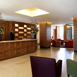 The lobby includes comfortable gathering spaces.