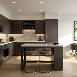 Beautifully appointed kitchens feature a suite of panelized Bosch appliances, complete with a 5-burner gas cooktop and islands in select layouts.