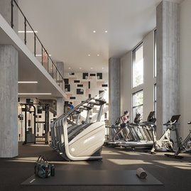 State-of-the-art fitness center with cardiovascular machines and Tonal's strength-training system
