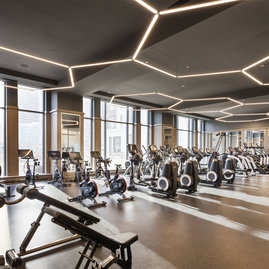 The full-featured Fitness Club is programmed and outfitted by The Wright Fit.