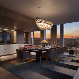 The 40th floor Penthouse Club is a private retreat exclusively for residents. Exquisitely furnished and finished, it has a terrace with panoramic views of the city that extend from the Golden Gate Bridge to the Bay Bridge.