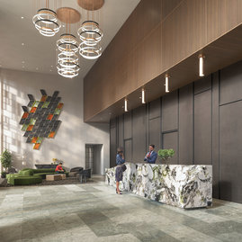 The light-filled double-height lobby with 24/7 concierge and thoughtfully curated art and design establishes a welcoming atmosphere the moment you arrive.