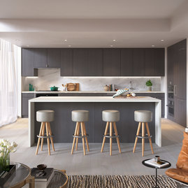 Open kitchens feature a gas cooktop and premium Bosch appliances with integrated paneling, custom grey oak cabinetry, white Caesarstone counters and a marble slab backsplash.