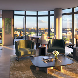 "Sun-filled residences feature expansive floor-to-ceiling windows, ceiling heights up to 10'6"", and landmark views."