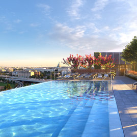 The gravity-defying rooftop infinity pool and hot tub offer unobstructed panoramic views of the District.