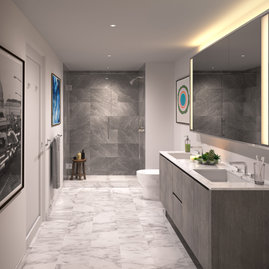 Luxe baths include Italian polished marble throughout.