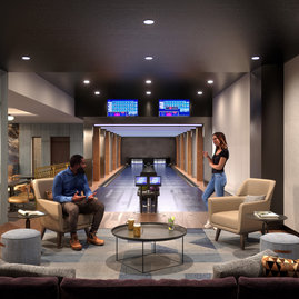 Enjoy bowling with friends in your private two-lane bowling alley.