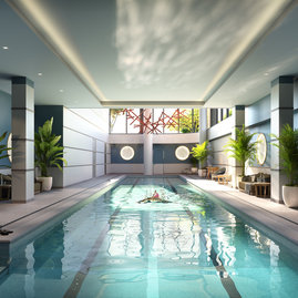 The indoor 75-foot Lap Pool and oversized hot tub is accessible year-round.