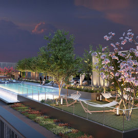 The Sky Terrace features an infinity-edge pool, a landscaped sanctuary with hammocks, private grill stations, and an outdoor screening area.