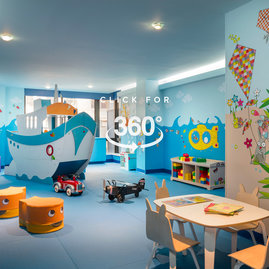 The children's playroom offers families dedicated space for their young explorers to run free, right inside the building.