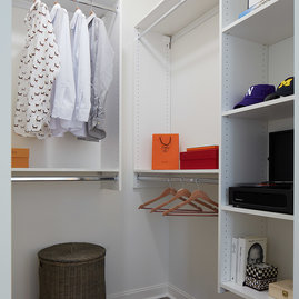 Large walk-in closets with custom shelving.