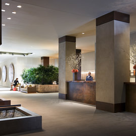 The lobby is a calming haven thanks to nature-inpsired design by Clodagh and the 24-hour concierge and doorman.