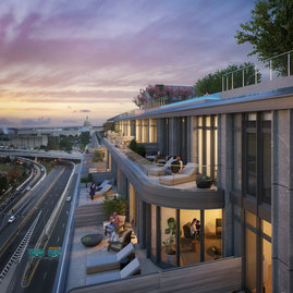 Select penthouses feature expansive private terraces and breathtaking views.
