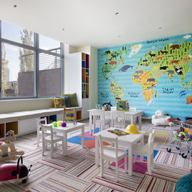 The light-filled children's playroom offers kids a place to explore.
