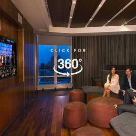 Adjacent to the entertainment lounge, 1214 Fifth Avenue's state-of-the-art media room.