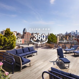 Take in panoramic views of Manhattan from the landscaped sun terrace, complete with loungers, tables, and chairs.