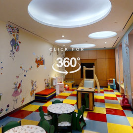 Located off the lobby, the children's playroom is designed to delight children.