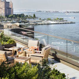 Mathews Nielsen designed rooftop with BBQ offers a panoramic vista of the Hudson River.