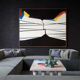 Bay Area artist Clare Rojas' large-scale oil on linen provides a striking centerpiece to the 11th floor Sports Bar.