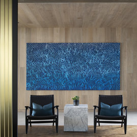 Reflecting the glistening water from the rooftop pool, David Huffman's 10-foot painting Zenith, 2020 is perfectly located in Fifteen Fifty's pool house.