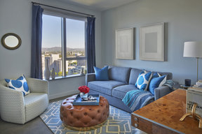 Light filled living rooms offering stunning views of Downtown LA and beyond.